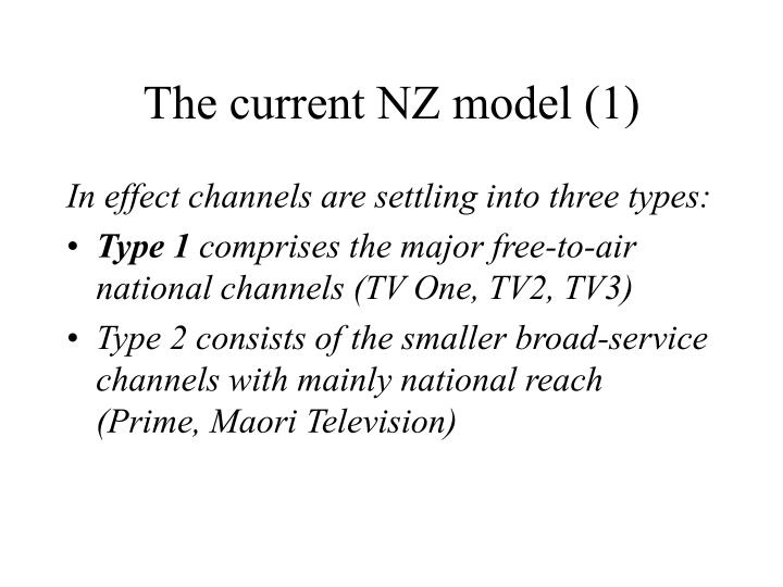 The current NZ model (1)