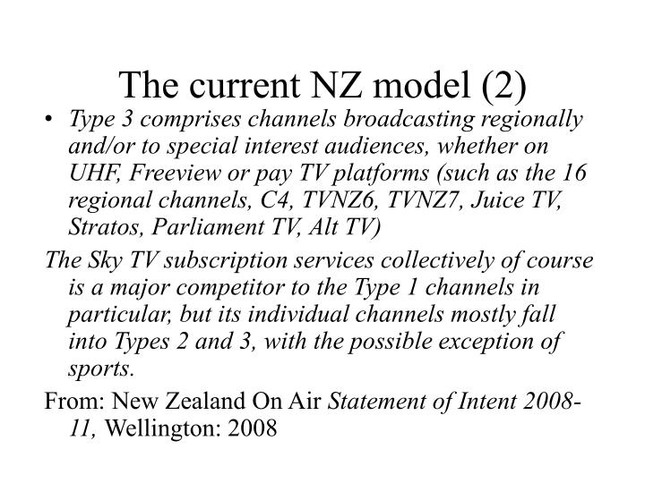 The current NZ model (2)