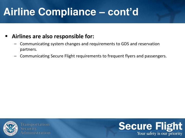 Airline Compliance – cont'd