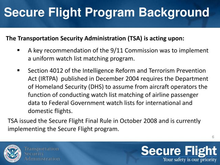 Secure Flight Program Background