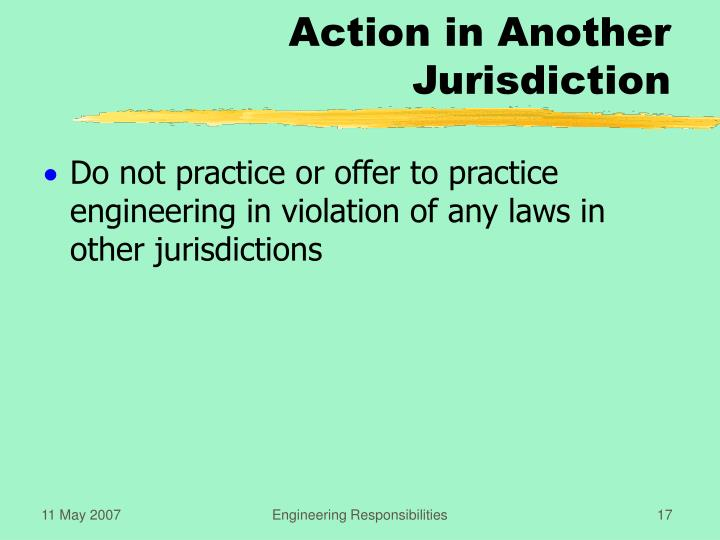 Action in Another Jurisdiction