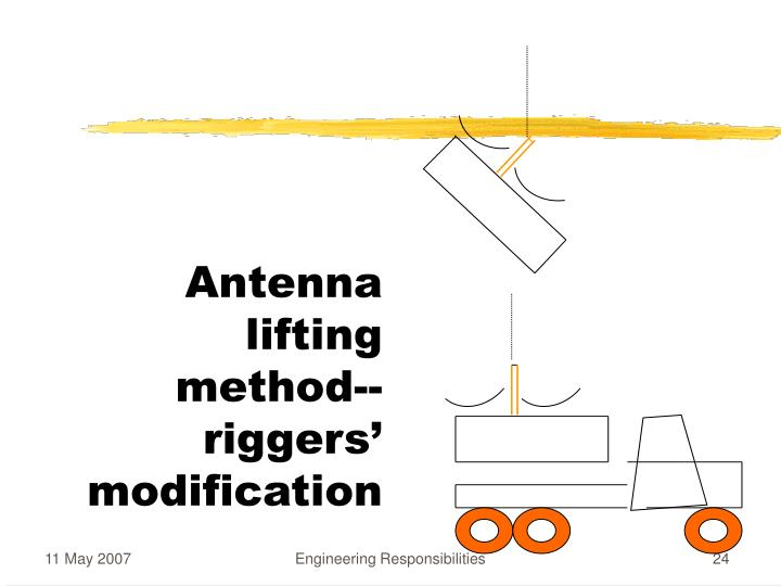 Antenna lifting method--riggers' modification