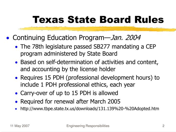 Texas state board rules