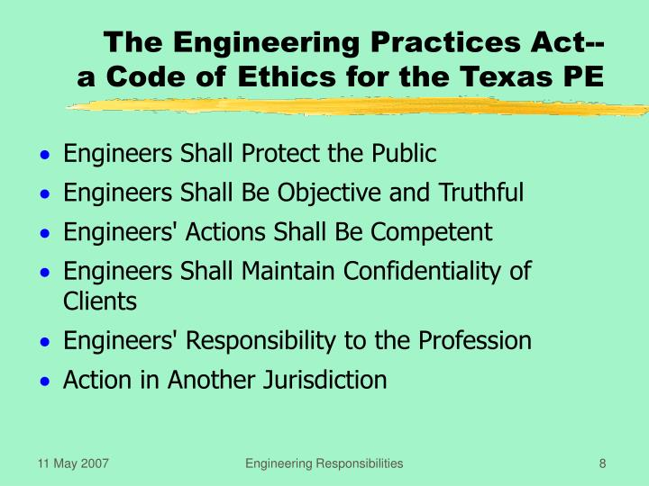 The Engineering Practices Act--