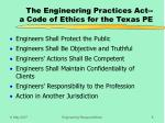 the engineering practices act a code of ethics for the texas pe