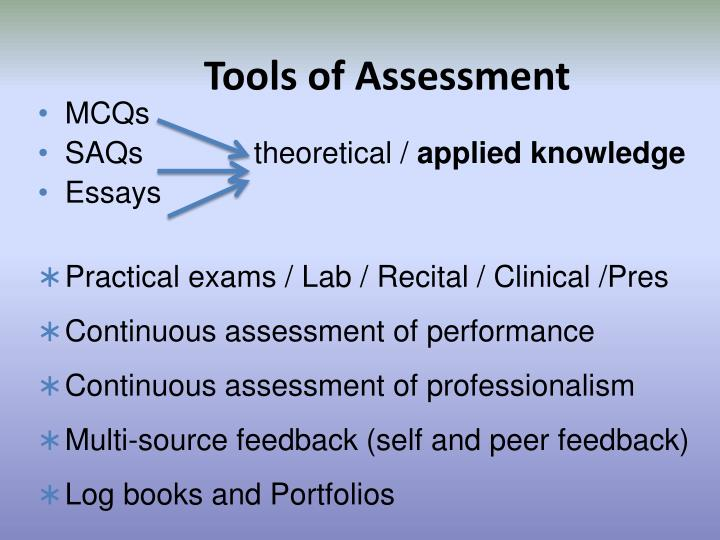 Tools of Assessment