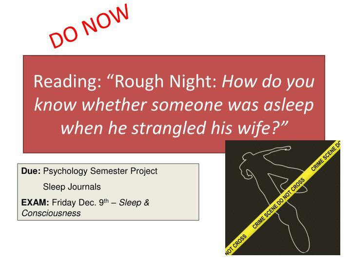 "Reading: ""Rough Night:"