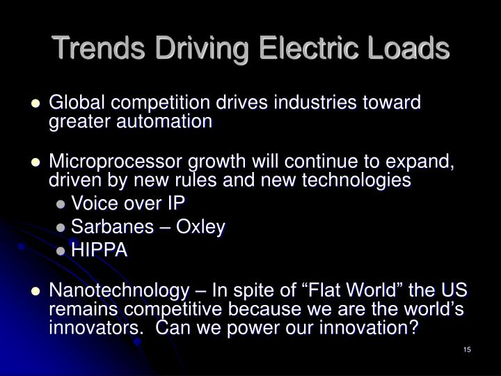 Trends Driving Electric Loads