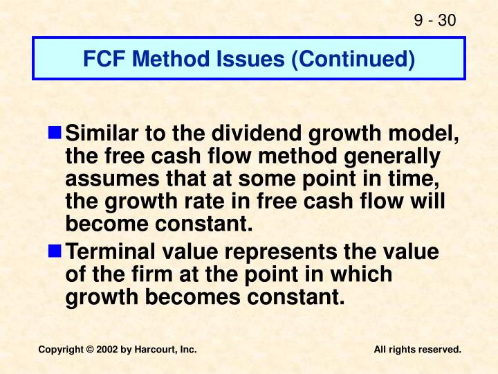 FCF Method Issues (Continued)