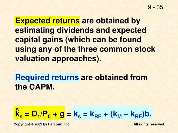 Expected returns are obtained by estimating dividends and expected capital gains (which can be found using any of the three common stock valuation approaches).