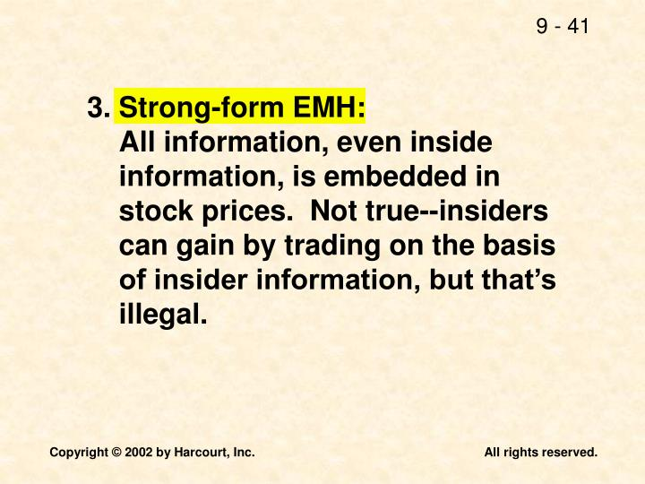 3.Strong-form EMH: