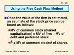 using the free cash flow method