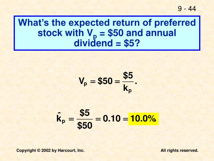 What's the expected return of preferred stock with V