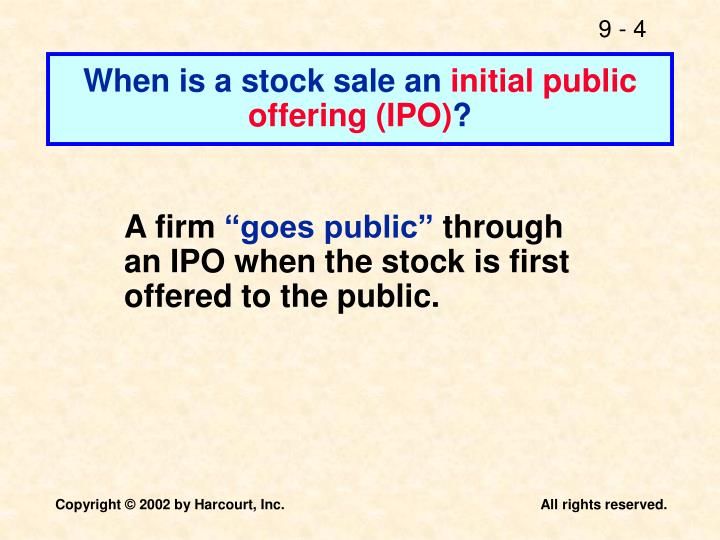 When is a stock sale an