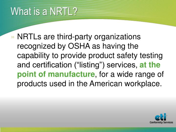 What is a NRTL?