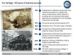 our heritage 146 years of business success