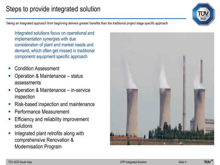 Steps to provide integrated solution