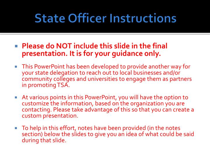 State Officer Instructions