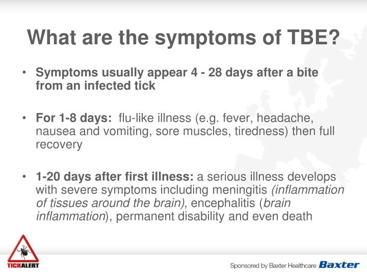 What are the symptoms of TBE?