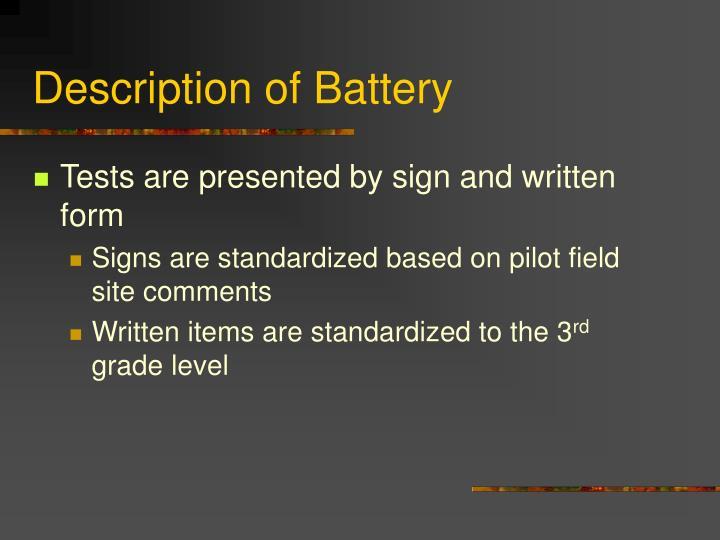 Description of Battery