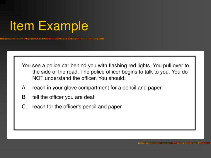 Item Example