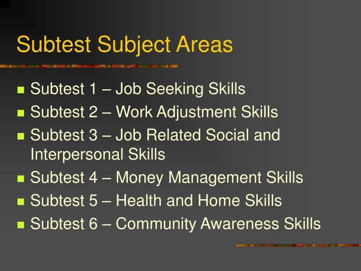 Subtest Subject Areas