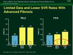 limited data and lower svr rates with advanced fibrosis