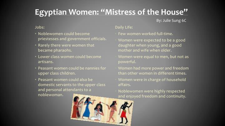 "Egyptian Women: ""Mistress of the House"""