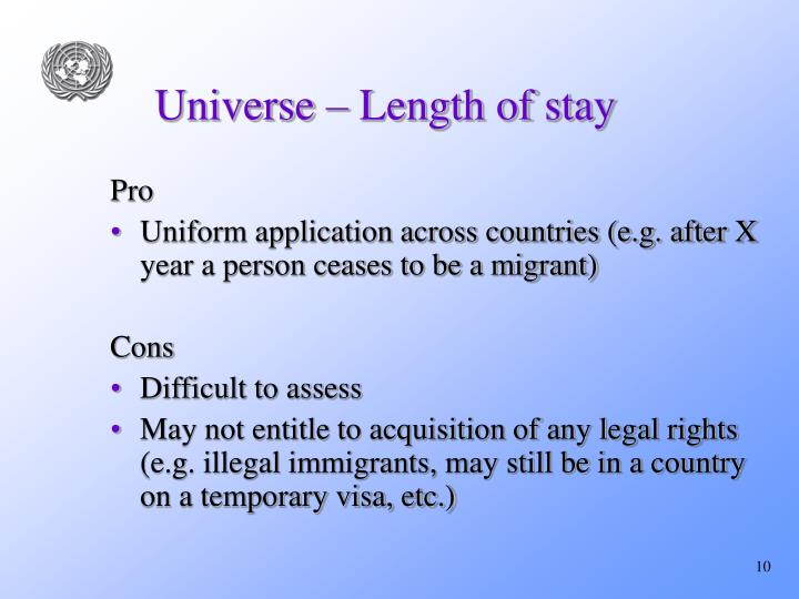 Universe – Length of stay