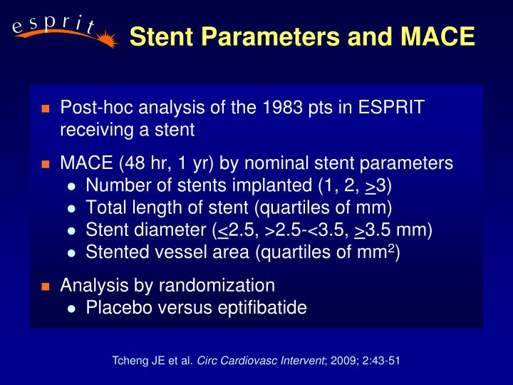 Stent parameters and mace