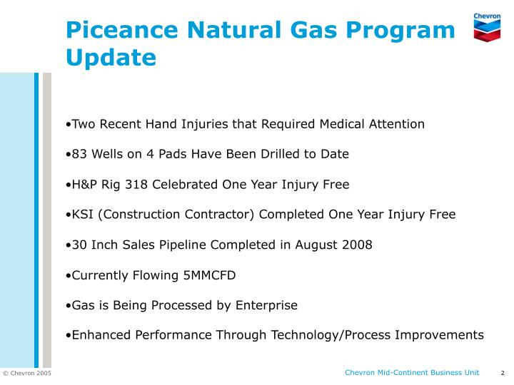 Piceance natural gas program update