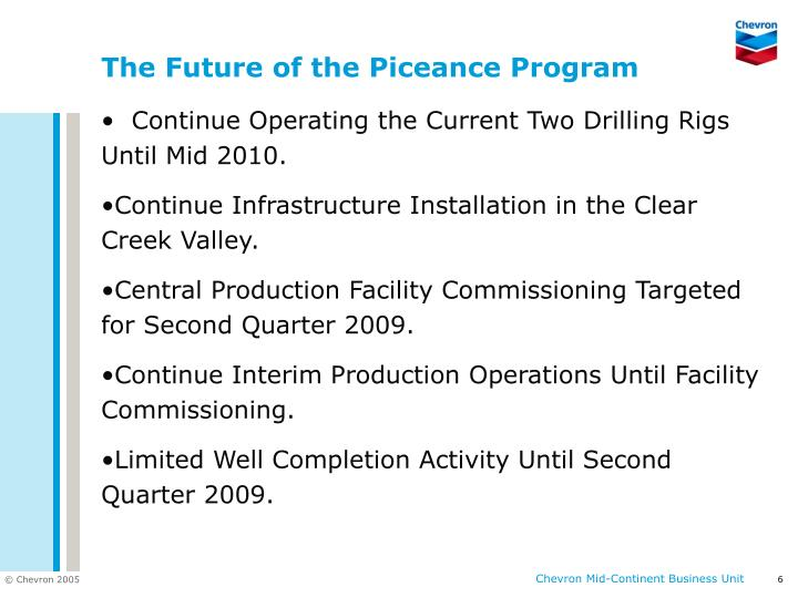 The Future of the Piceance Program