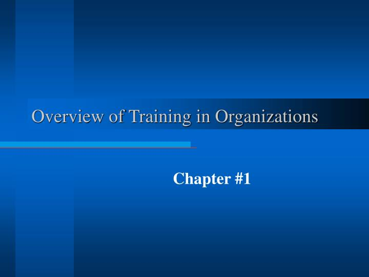 Overview of training in organizations