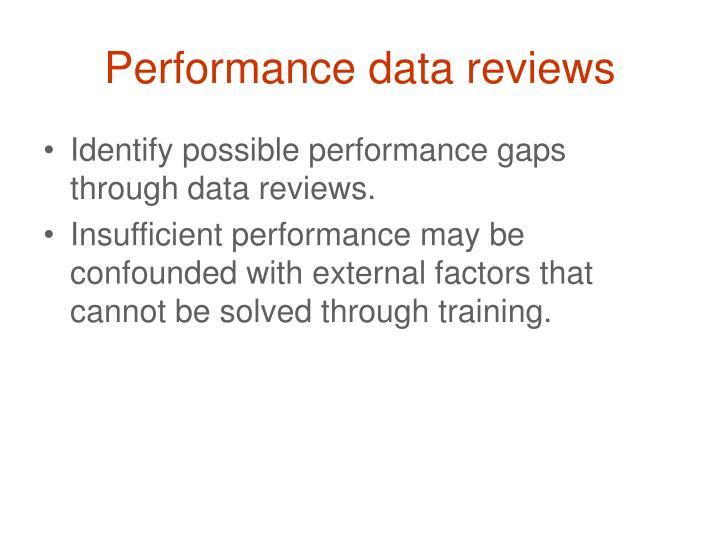 Performance data reviews