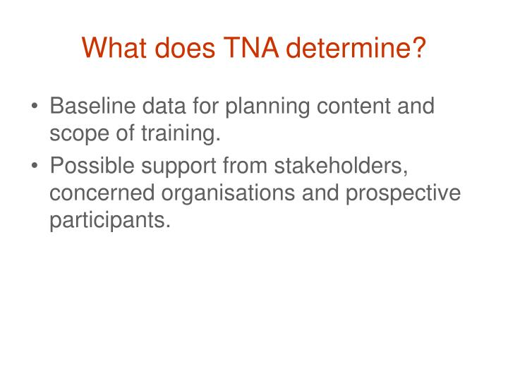 What does TNA determine?