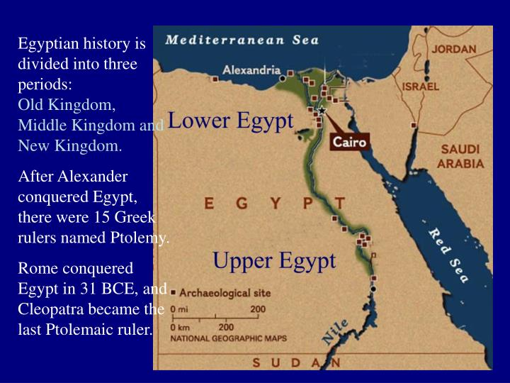 Egyptian history is divided into three periods: