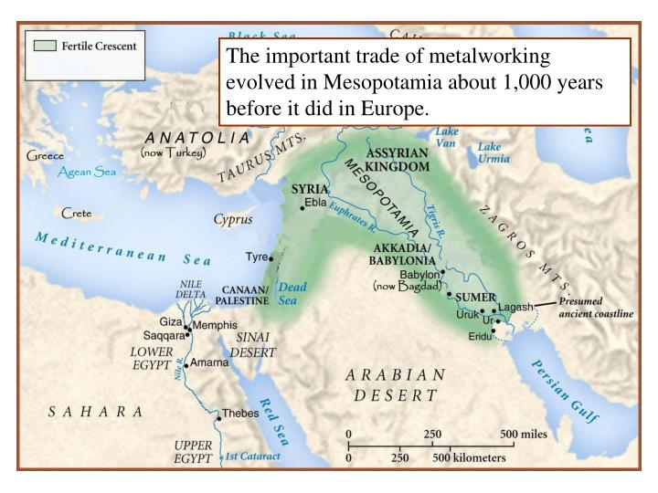 The important trade of metalworking evolved in Mesopotamia about 1,000 years before it did in Europe.