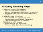 preparing testimony project
