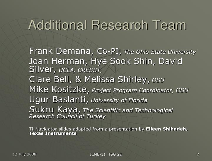 Additional Research Team