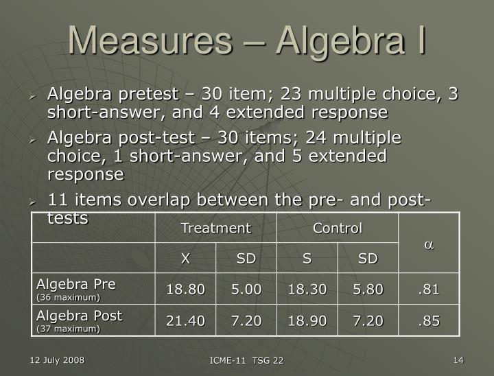 Measures – Algebra I