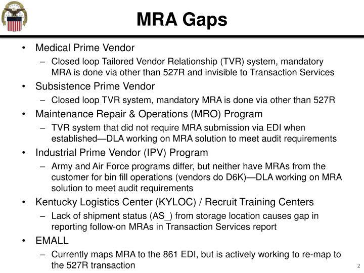 MRA Gaps