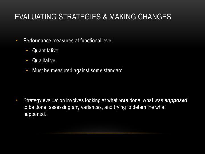 evaluating Strategies & Making Changes