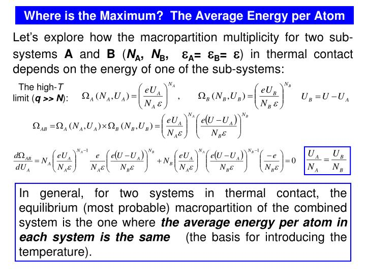 Where is the Maximum?  The Average Energy per Atom