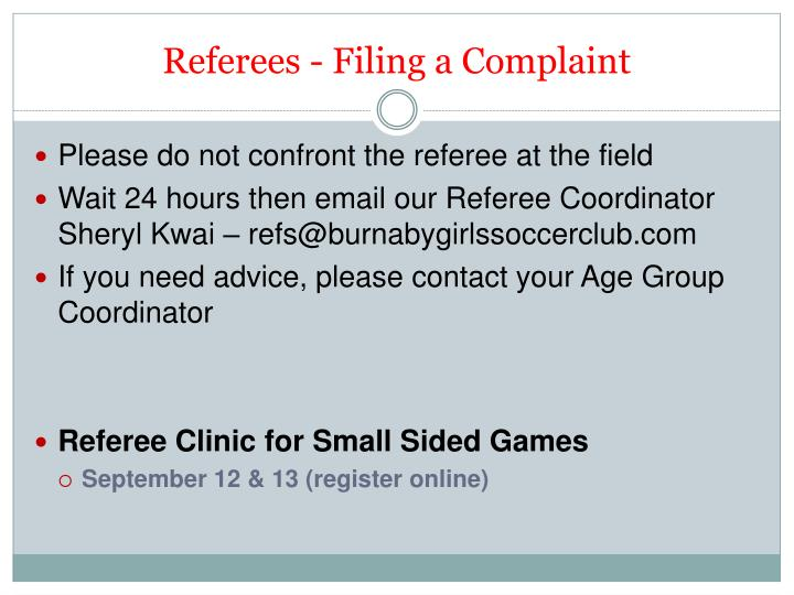 Referees - Filing a Complaint
