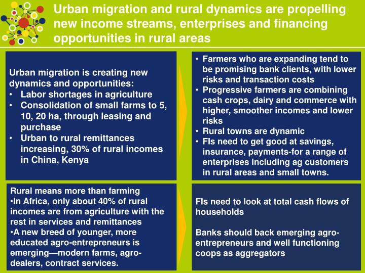 Urban migration and rural dynamics are propelling new income streams, enterprises and financing oppo...