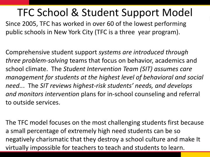 TFC School & Student Support Model