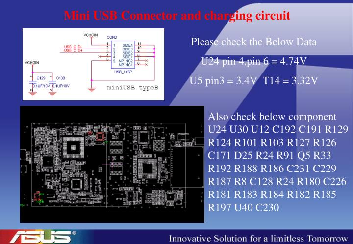 Mini USB Connector and charging circuit
