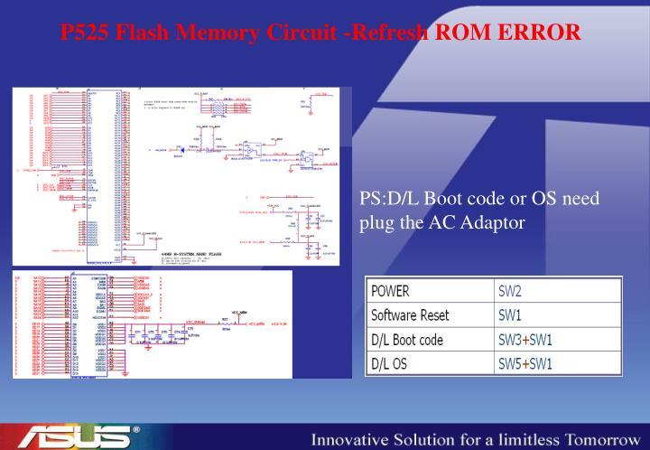 P525 Flash Memory Circuit -Refresh ROM ERROR