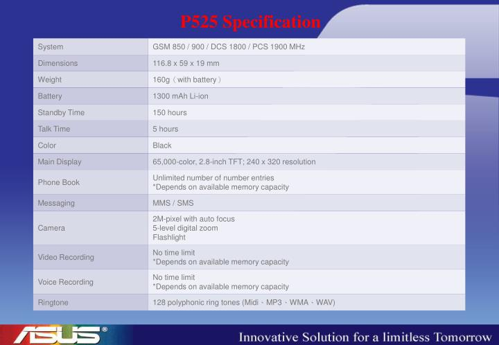 P525 Specification