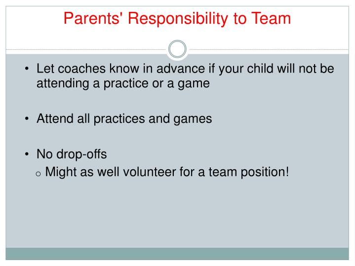 Parents' Responsibility to Team